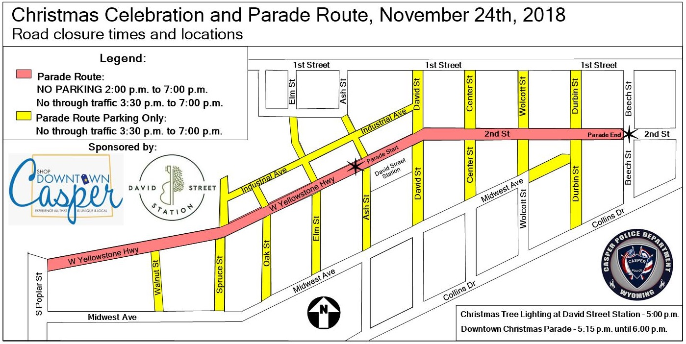 Christmas Parade Route Closure map 2018 – David Street Station